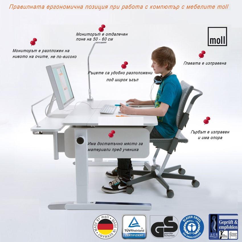 правилна стойка при работа с компютър
