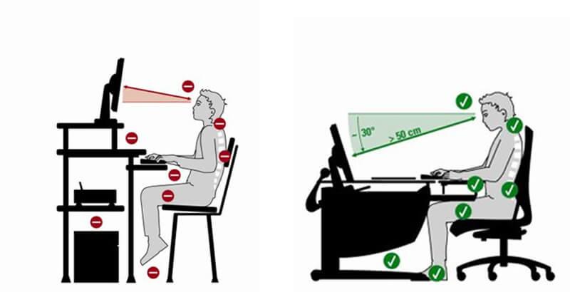 Правилната стойка при работа с компютър