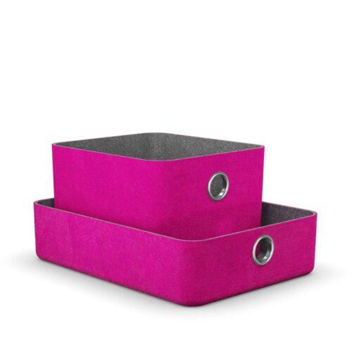 комплект кошници за детска етажерка в розов цвят